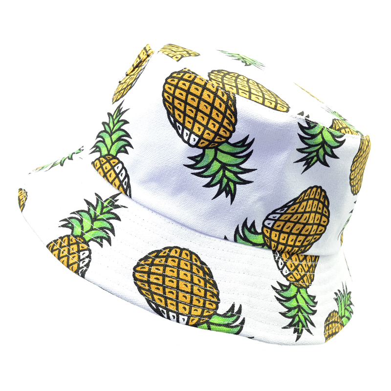 New Fashion Lovely Summer White Pineapple Printed Bucket Hats Outdoor Fishing Sun Caps k pop men Women fisherman hat