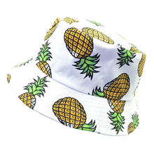 New Fashion Lovely Summer White Pineapple Printed Bucket Hats Outdoor Fishing Sun Caps k pop men Women fisherman hat