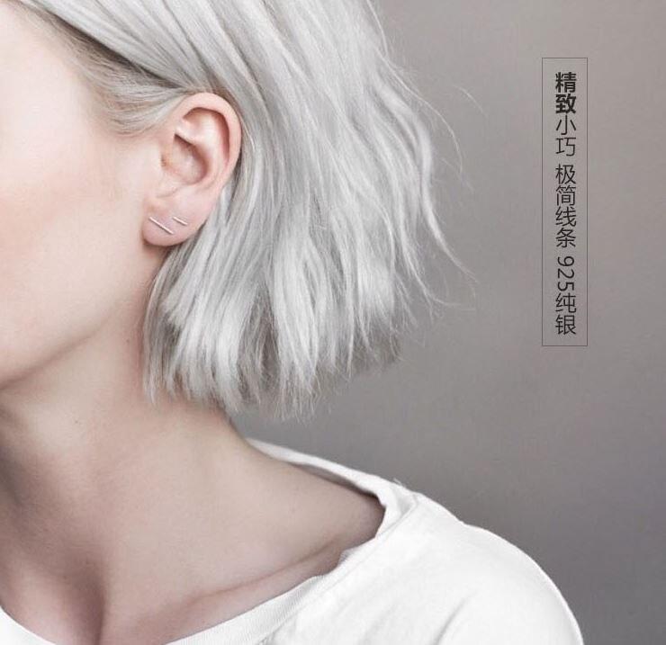 GRACE MOMENTS Sterling Silver Earring 100% Pure 925 Silver Simple Geometry Cylinder Stud Earrings for Women Jewelry Stud Earring