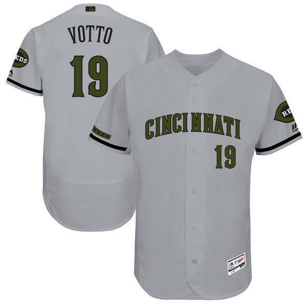 MLB Mens Cincinnati Reds Joey Votto Baseball Gray 2017 Memorial Day Authentic Collection Flex Base Player Jersey