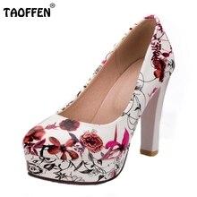 Taoffen tamaño 33-43 de la señora de tacón alto zapatos de tacones de plataforma de impresión de las mujeres bombas partido del club de la señora del dedo del pie redondo de la boda calzado femenino