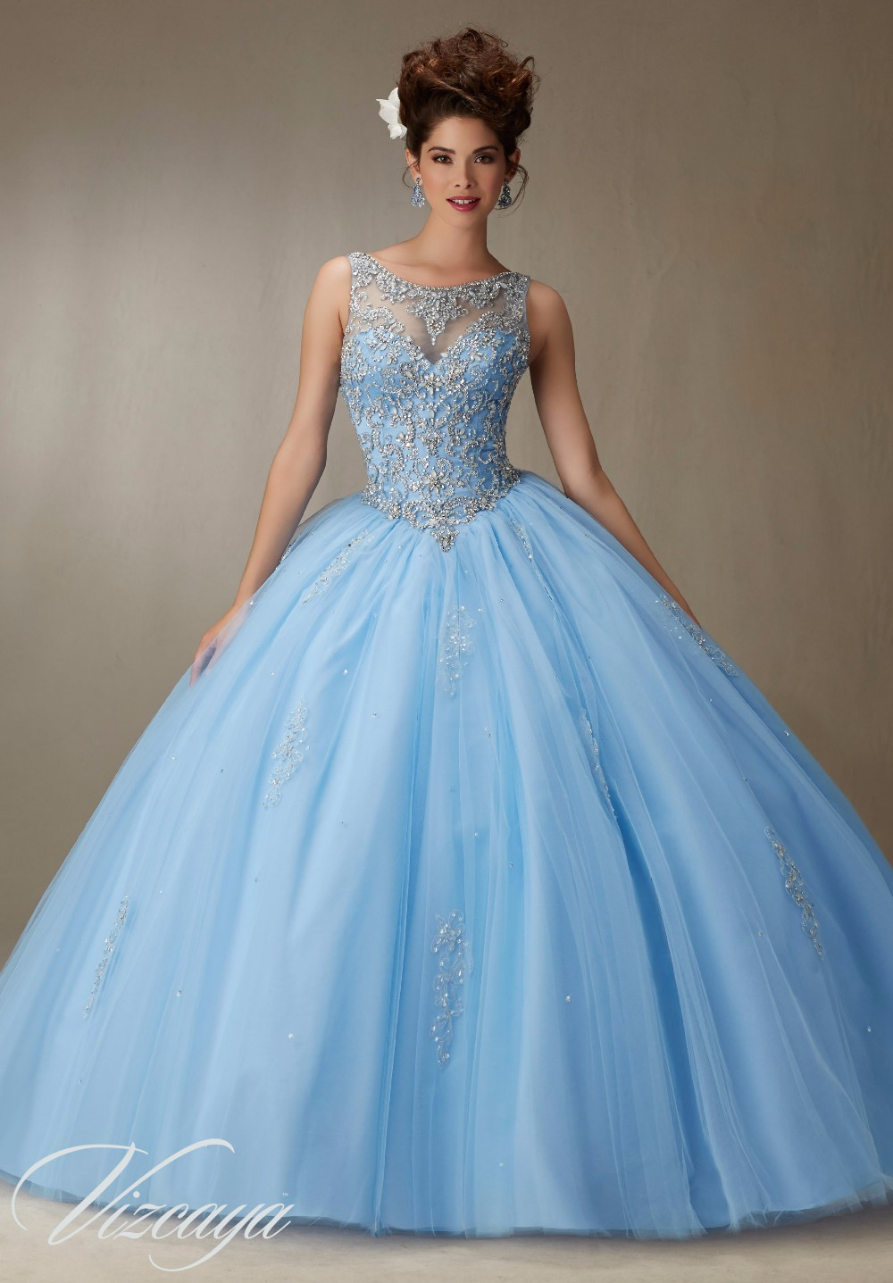 Cap Shoulder Tulle Quinceanera Dresses 2017 Fashion Beads Corset ...