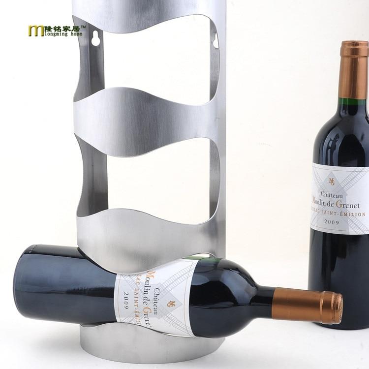 1PC New Fashion Stainless steel wine holder hanging fashion bar wine shelf creative wine frame wall