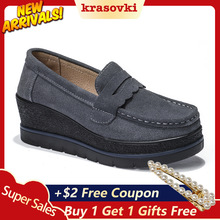Krosovki Brand Women Shoes Genuine Leather Wedges Platform Slip on Creepers Moccasins Slipony Female Suede Sneakers