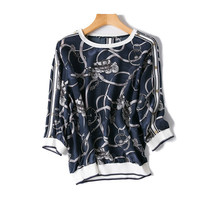 100%silk knit women fashion printed t shirt spliced Oneck half sleeve tees back/shoulder buckle one&over size