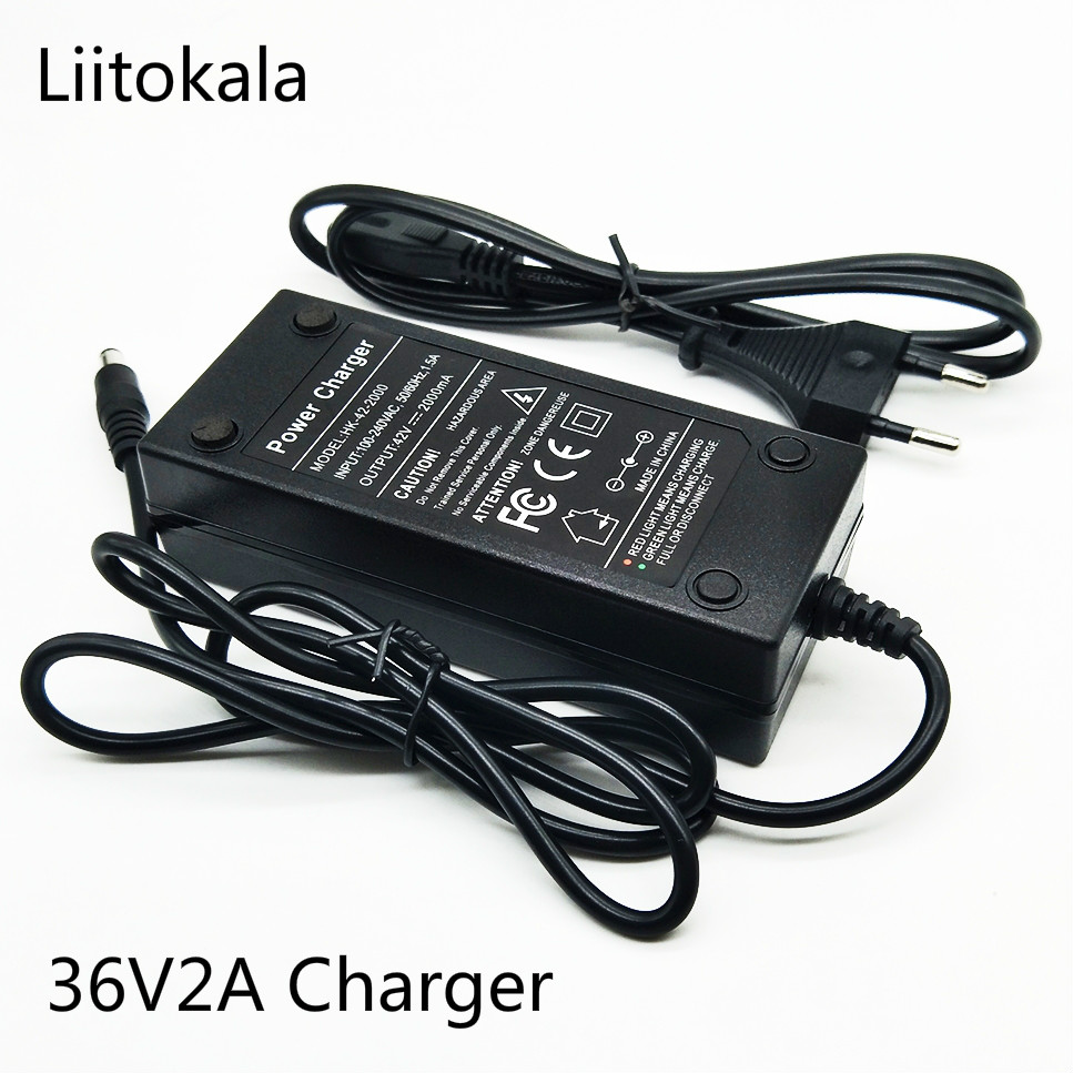 HK LiitoKala Real 36V <font><b>29.4V</b></font> 25.2V 48V 12.6V <font><b>2A</b></font> battery pack 18650 charger image
