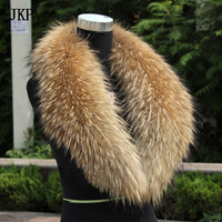 JKP spring and autumn models natural fox fur collar furry real raccoon making high quality warm coat discount hot women's new st