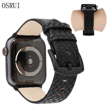 Strap for Apple watch band Genuine Leather 42mm 38mm correa iwatch series 44mm 40mm 4 3 2 bracelet belt apple watch Accessories цена