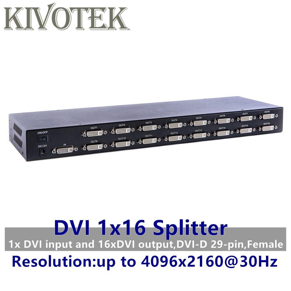 4K 16 портов разделитель DVI, двойная связь DVI D 1X16 разветвитель адаптер дистрибьютор, разъем 4096x2160 5V питания для CCTV HDCamera