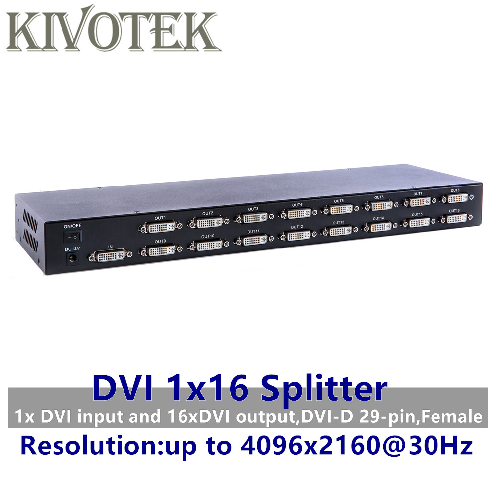 4K 16 Ports DVI Splitter,Dual link DVI D 1X16 Splitter Adapter Distributor,Female Connector 4096x2160 5V Power For CCTV HDCamera-in Computer Cables & Connectors from Computer & Office