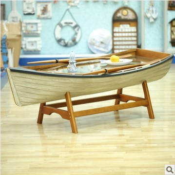 Awesome Special Mediterranean Style Furniture White Coffee Table Coffee Table  Decorated With Marine Hull Sculls