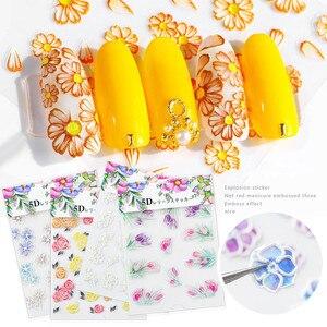 Image 2 - 5D acrylique gravé fleur Nail Art autocollant auto adhésif en relief contour fleur feuille été décalcomanies eau manucure Accessoires