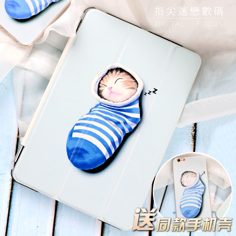 For New iPad 9.7 2017 Cartoon Cute Sock cat Flip Cover For iPad Pro 9.7 10.5 Air Air2 Mini 1 2 3 4 Tablet Case Protective Shell купить