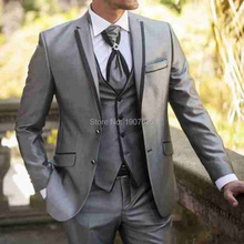 Gray Wedding Men Suits Three Piece Notched Lapel Formal Style Jacket Vest Pants Groom Tuxedos Latest Blazer