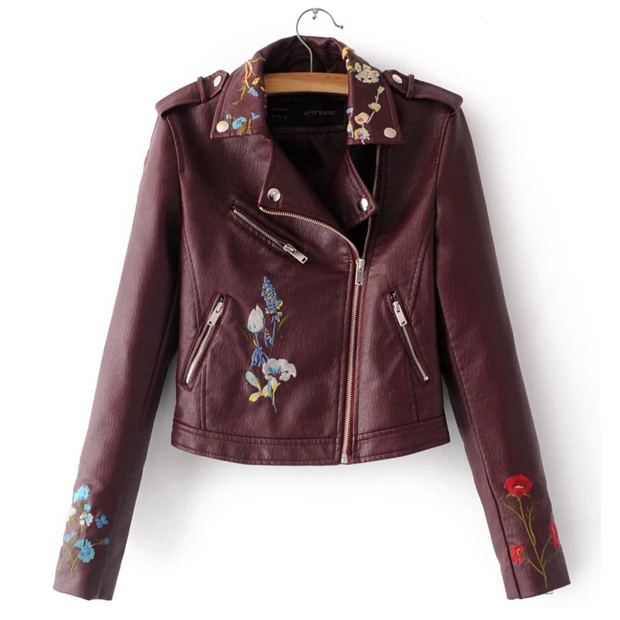 2017 New Women Embroidery Jacket Faux Pu Leather Zipper Motorcycle Jacket  Short Punk Coat Ladies Embroidered