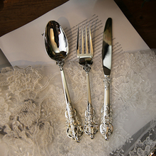1PC Luxury Western Silver Dinnerware Sets Cutlery Dinner Spoon Fork Steak Knife Coffee Dessert Teaspoon Tableware Flatware Set