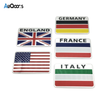 AuQoor.s Aluminum United States France Germany England Italy Flag car sticker Auto accessories For Chevrolet Skoda BMW Audi Benz