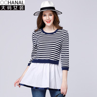 Stripe Patchwork Blouse 3 Quarters Sleeve 2017 Spring New Women Large Size Stripes Loose Rushed Fashion