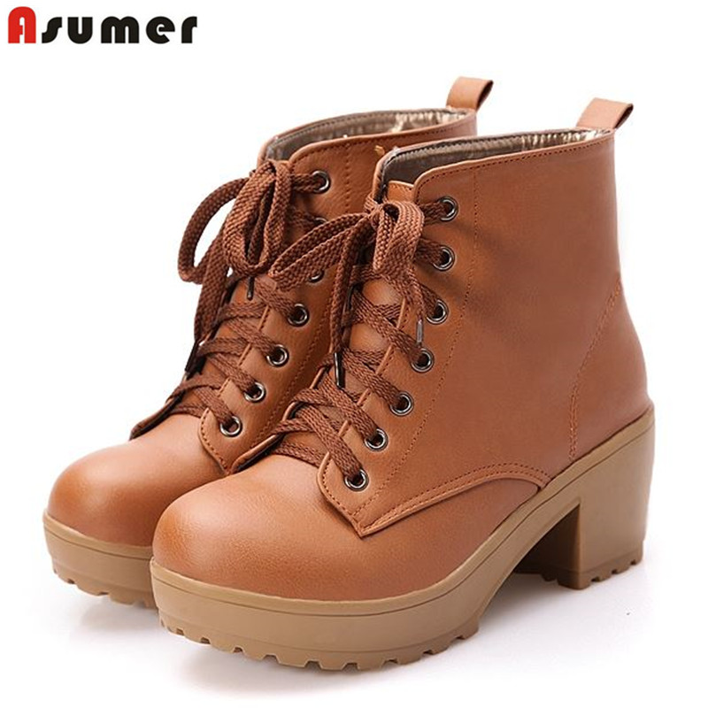 ASUMER Plus size 34-43 new fashion lace up ankle boots platform shoes spring autumn boots thick high heels women boots shoes plus size 34 43 2016 patch color ankle boots thick high heels skid proof platform shoes woman rivets lace up fall winter boots