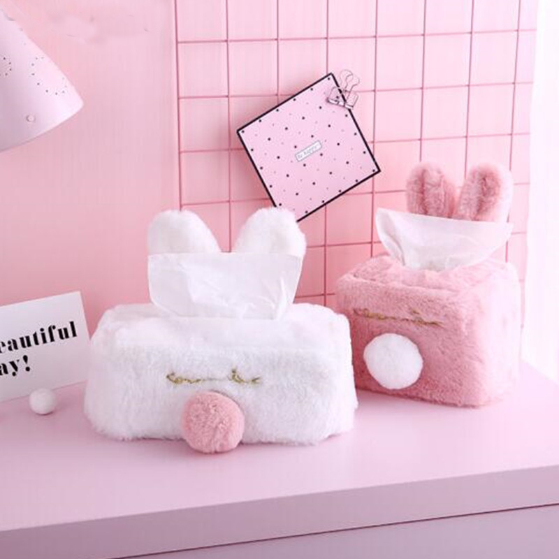 Tissue box cover sweet pink white plush rabbit tissue box durable home car hotel paper tissue holder home kitchen organizer