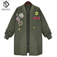 New Plus Sizie XXXXXL 5XL 3XL Womens Military Army Green Coat Outwear Epaulet Embroidery Baseball Jacket Clothes C6O1724R