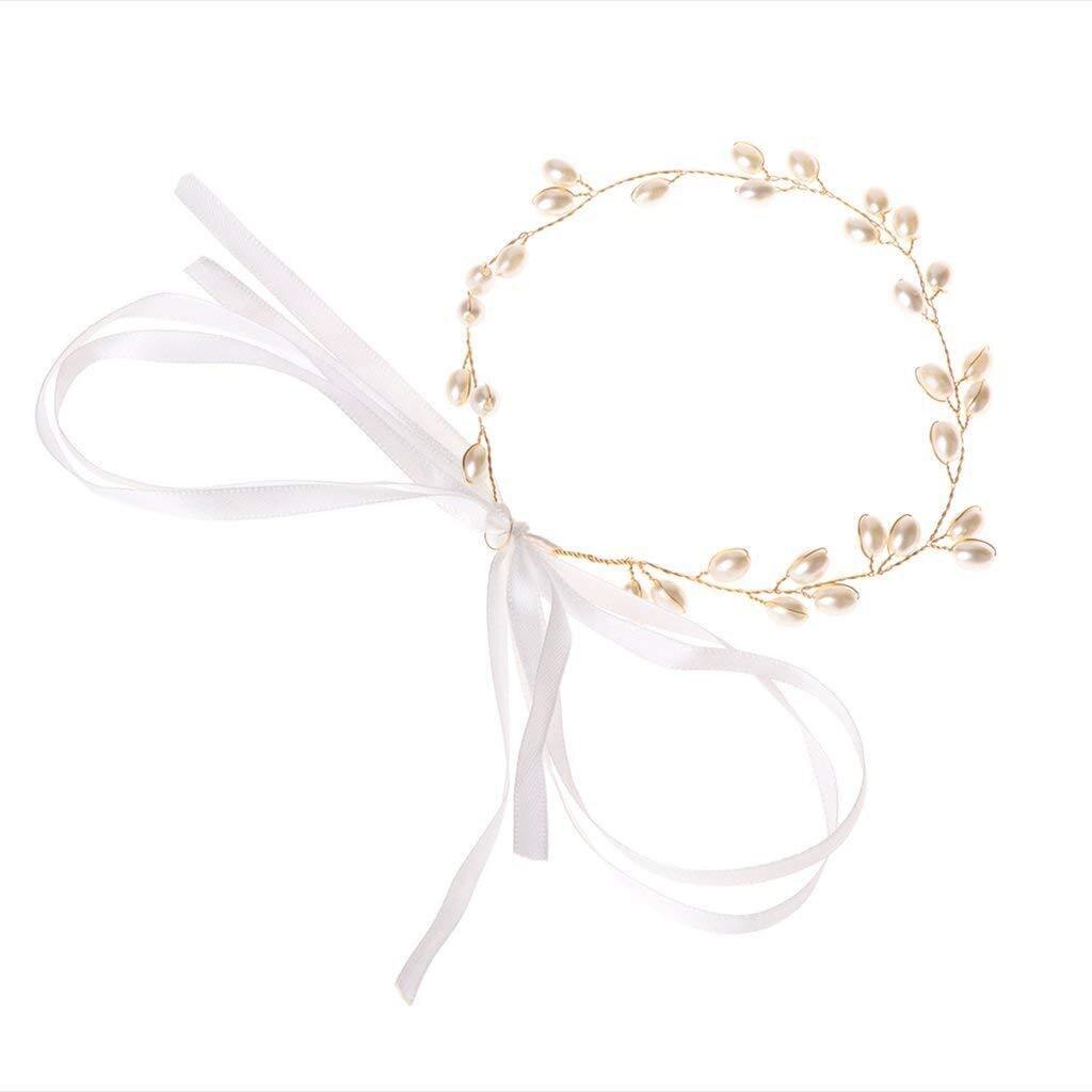 Hochzeit Halo Braut Reif Perle Braut Stirnband Gold Kopfstück Haar Reben