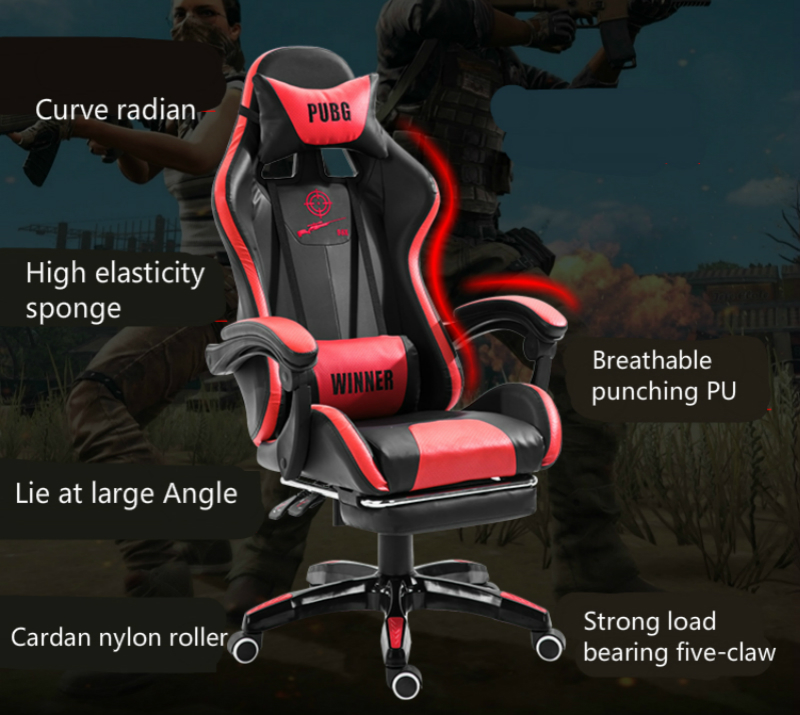 Купить с кэшбэком Ergonomic E-sports Gaming Chair Reclining Household PU Soft Computer Chair Lifted and Rotation Office Boss Chair with Footrest