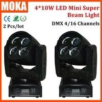 2pcs Lot Good Quality DMX512 4 10w Mini Led Beam Light Super 4 16 CH Stage
