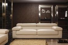 Vaca genuino / real sofás de cuero salón sofá seccional / sofá de la esquina de muebles para el hogar sofá de 3 plazas reposacabezas ajustable