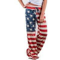 Новая мода Широкие брюки 2017 богемные повседневные штаны Для женщин Национальный флаг печати Свободные полной длины длинные Брюки для девоч...