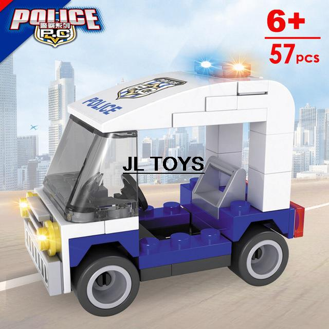 Super police Assemblage educational bricks toy mini Police prowl car DIY building block model compatible with legos city