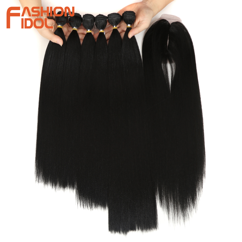 FASHION IDOL Yaki Straight Hair Bundles 7Pcs/Pack 16-20inch Ombre 613# Synthetic Hair Bundles With Closure Weave Hair Extension 2