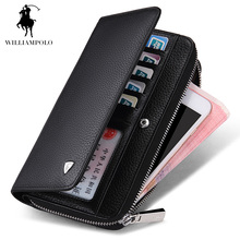 Limited!!!WILLIAMPOLO 2017 Genuine Leather Business Style Zipper & Hasp Desinger Wallet Purses Clutch Bag Man POLO131