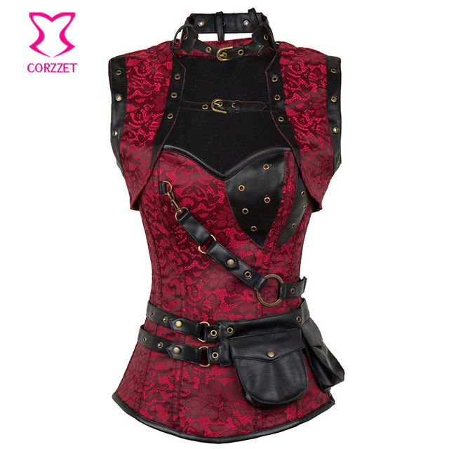 Red/Black Embroidery Floral Steel Boned Corsets and Bustiers Steampunk Corset Top With Pocket Belt and Jacket Gothic Clothing