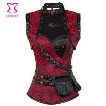 Red / Black Steampunk Corset Gothic Clothing Steel Boned Sexy Corsets And Bustiers Vintage Burlesque Costumes Corselete Feminino