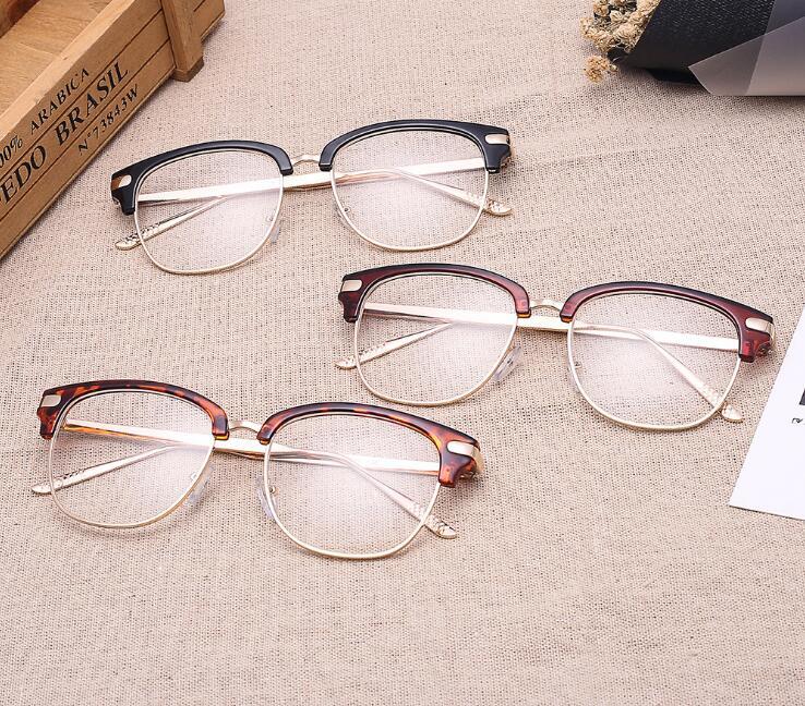 5abc93ed63834 Dos Homens do Estilo Retro do vintage Preto Óculos de Armação Simples  Óculos Frame Ótico Óculos de Marca Fashion Designer Mulheres Prego Decration