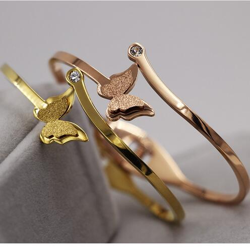 Hot sale stainless steel rose gold color butterfly bracelets for women,fashion vintage crystal bracelet bangle pulseiras joias