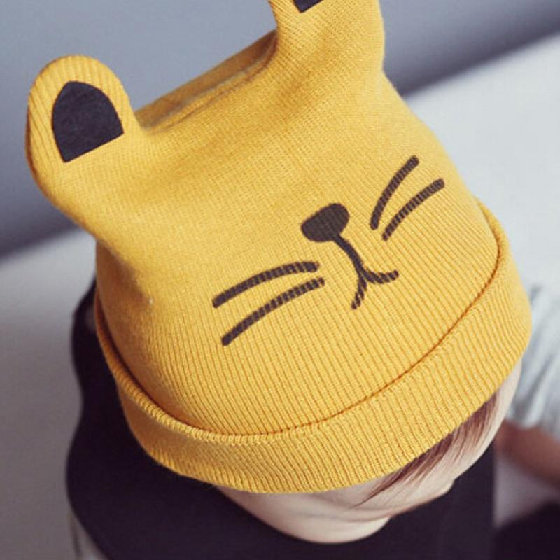 Autumn Winter New Cat Printing Baby Caps Newborn Children Cap Headgear new 2014 autumn winter baby