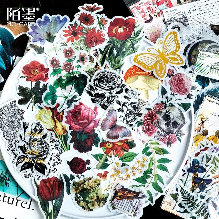 Vintage Flower Sticker Natural Collection Series Hot Stamping Washi Sticker Album DIY Decoration Sticker