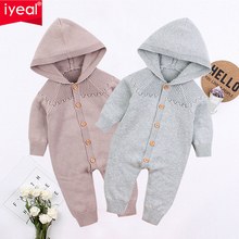 IYEAL Kids Baby Girl Boy Knitted Romper Unisex Long Sleeve Hooded Jumpsuit Cotton Jumper Knitwear Autumn Clothes for 3-18M