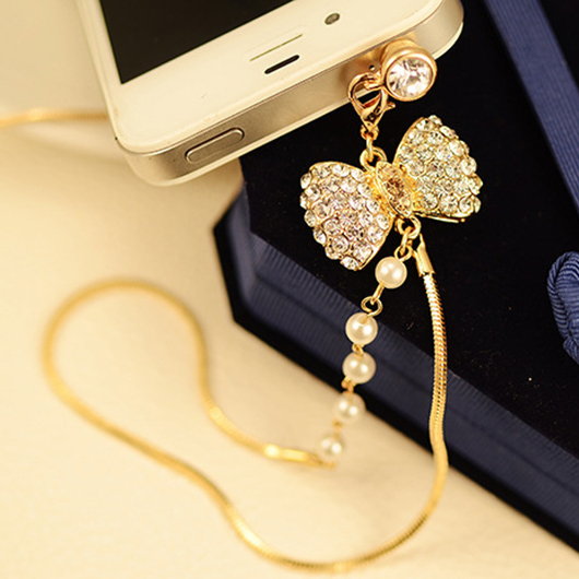 6 Crystal Pearl Photo Picture Frame Diamond Bowknot: 3.5mm Lovely Gold Diamond Crystal Butterfly Bow Pearl