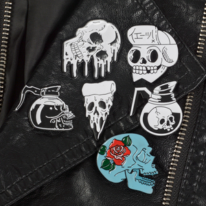Rose Flowers Japanese Samurai Ninja Skull pins Coffee Flower Pizza Skeleton Lapel pins Punk Dark Jewelry Brooches for men women