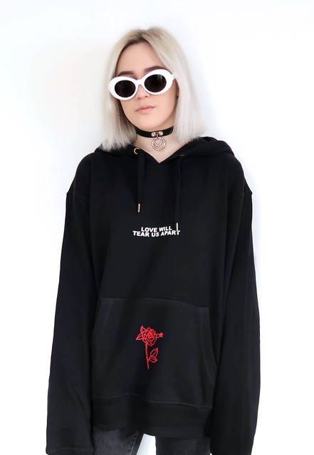 Love Will Tear Us Apart Rose Letter Print Hoodies Sweatshirt Black