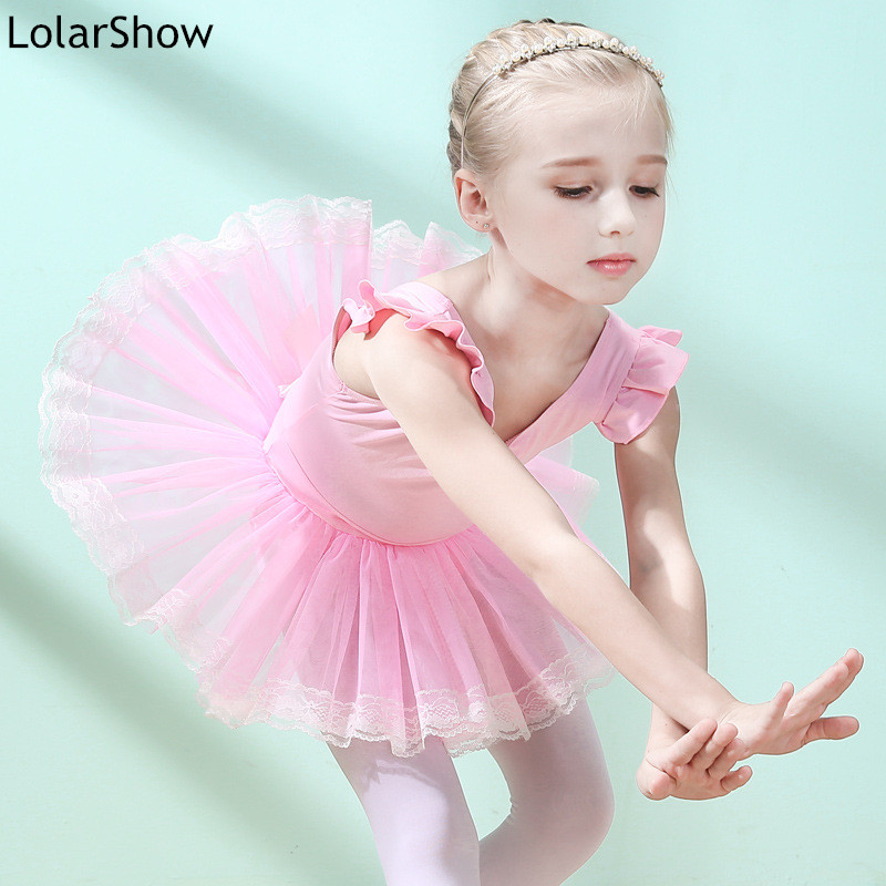 LolarShow Round Collar Ballet Dance Costume Training Clothes Cotton Leotards For GirlsShort Sleeve Ballet Dance Tutu Skirt