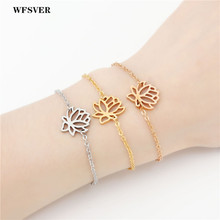 WFSVER Adjustable Stainless Steel Bracelet With Lobster Clasps For Women Girls Charms Flower Lotus Link Chain Jewelry