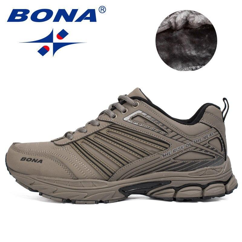 סגנון חם הגעה BONA החדש גברים נעלי ריצה חיצוני נעלי הליכה נעלי ריצה נעלי ספורט נוחים לשרוך את נעלי ספורט לגברים
