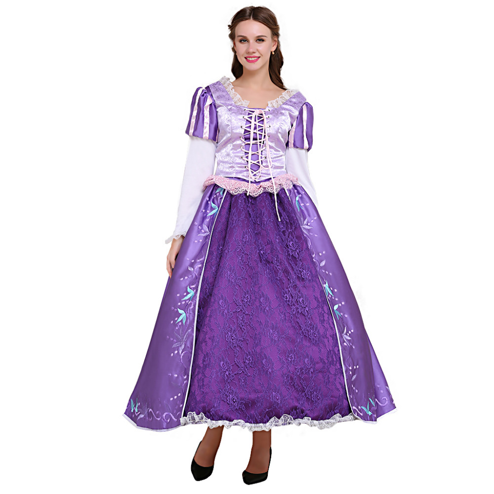 Tangled Rapunzel Princess Dress Deluxe Embroidered Rapunzel Dress Costume Clothing Adult Halloween Cosplay Costume