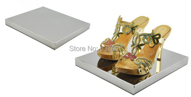 Mirror light Metal stainless steel boutique shoes showing display sandals shoes display stand shoe holder keeper rack