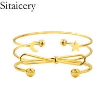 Sitaicery 3PCS/Set Womens Fashion Star Moon Bow Knot Gold Bracelet Set Bohemian Friendship Bracelets Vintage Jewelry Wholesale