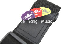 Alice Black Nylon Acoustic Electric Guitar Strap Leather Ends With Picks Pocket Free Shipping Wholesales